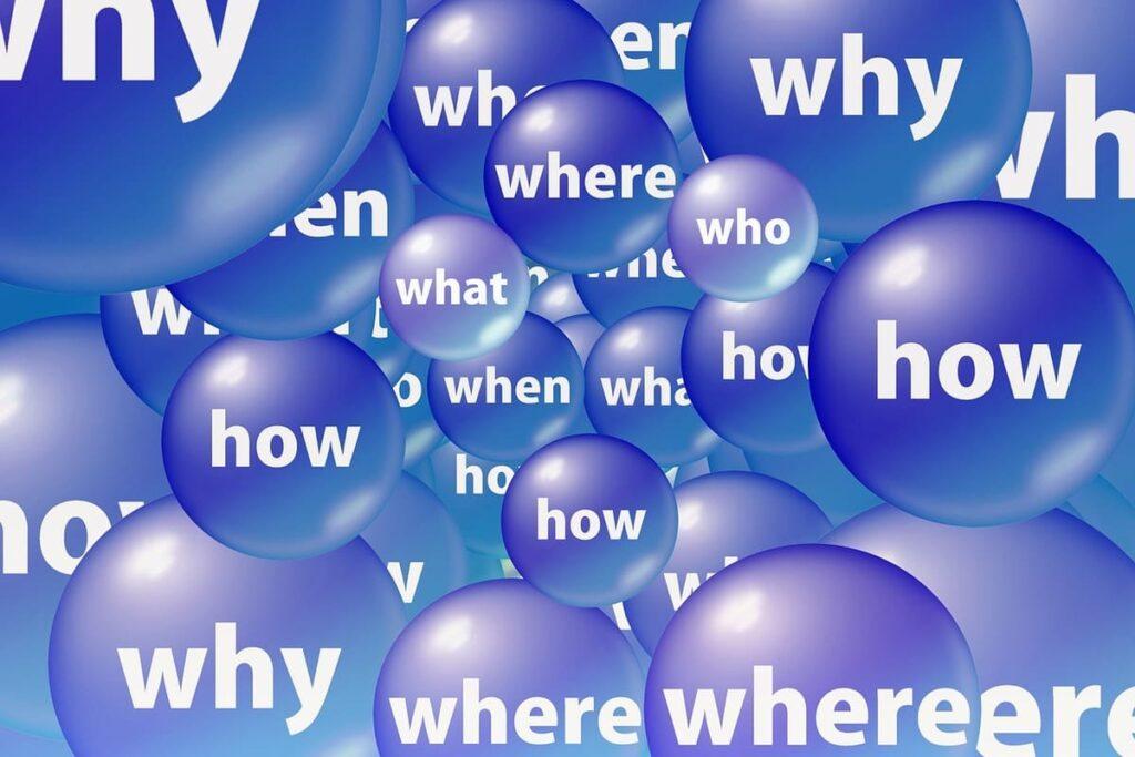 where,when,whatの書かれた泡